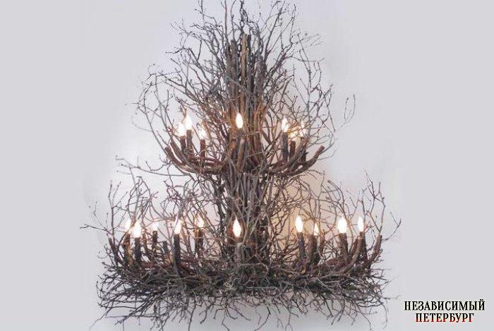Люстры из веток дерева